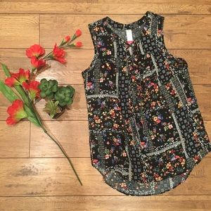 Midnight Floral Lace-Tie Blouse Size M